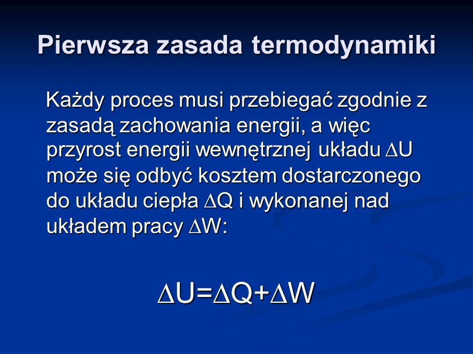 Pierwsza zasada termodynamiki Każdy proces musi przebiegać zgodnie z zasadą zachowania energii, a więc przyrost energii wewnętrznej układu U może się
