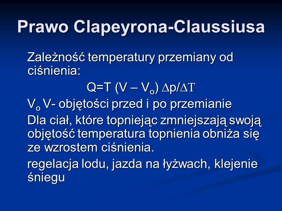 Prawo Clapeyrona-Claussiusa Zależność temperatury przemiany od ciśnienia: Zależność temperatury przemiany od ciśnienia: Q=T (V – V o ) p/ Q=T (V – V o