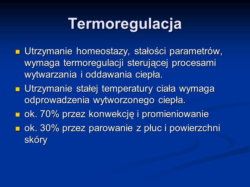 Termoregulacja Utrzymanie homeostazy, stałości parametrów, wymaga termoregulacji sterującej procesami wytwarzania i oddawania ciepła. Utrzymanie homeo