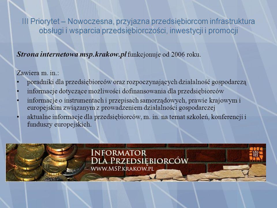 III Priorytet – Nowoczesna, przyjazna przedsiębiorcom infrastruktura obsługi i wsparcia przedsiębiorczości, inwestycji i promocji Strona internetowa msp.krakow.pl funkcjonuje od 2006 roku.