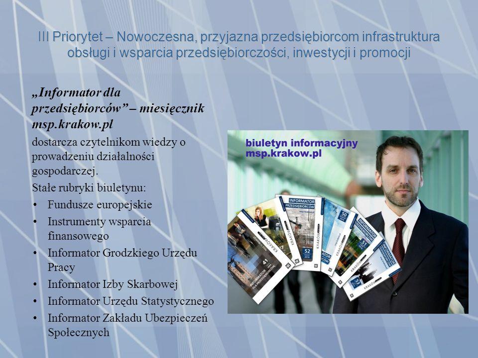 III Priorytet – Nowoczesna, przyjazna przedsiębiorcom infrastruktura obsługi i wsparcia przedsiębiorczości, inwestycji i promocji Informator dla przedsiębiorców – miesięcznik msp.krakow.pl dostarcza czytelnikom wiedzy o prowadzeniu działalności gospodarczej.