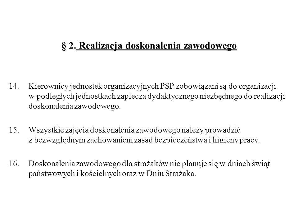 § 2. Realizacja doskonalenia zawodowego 14.Kierownicy jednostek organizacyjnych PSP zobowiązani są do organizacji w podległych jednostkach zaplecza dy