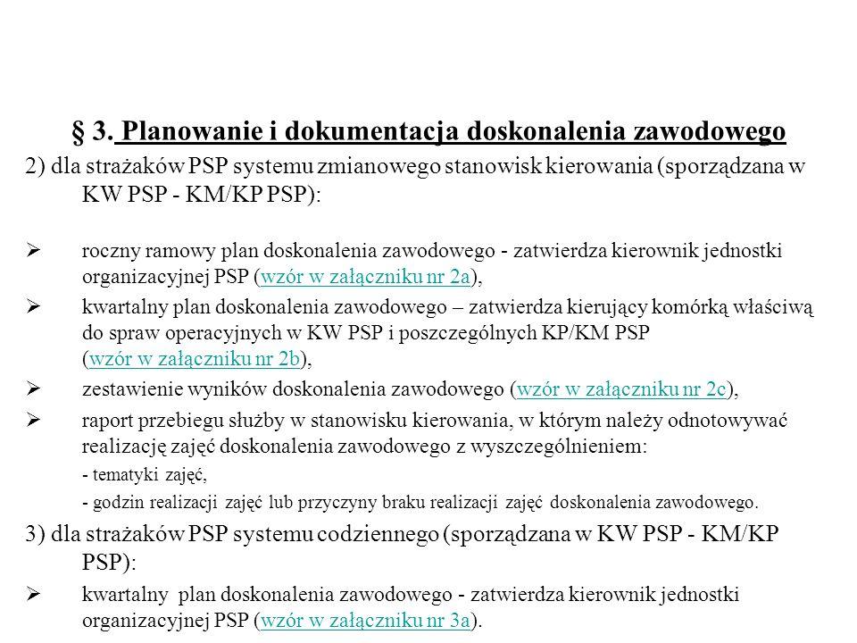 § 3. Planowanie i dokumentacja doskonalenia zawodowego 2) dla strażaków PSP systemu zmianowego stanowisk kierowania (sporządzana w KW PSP - KM/KP PSP)