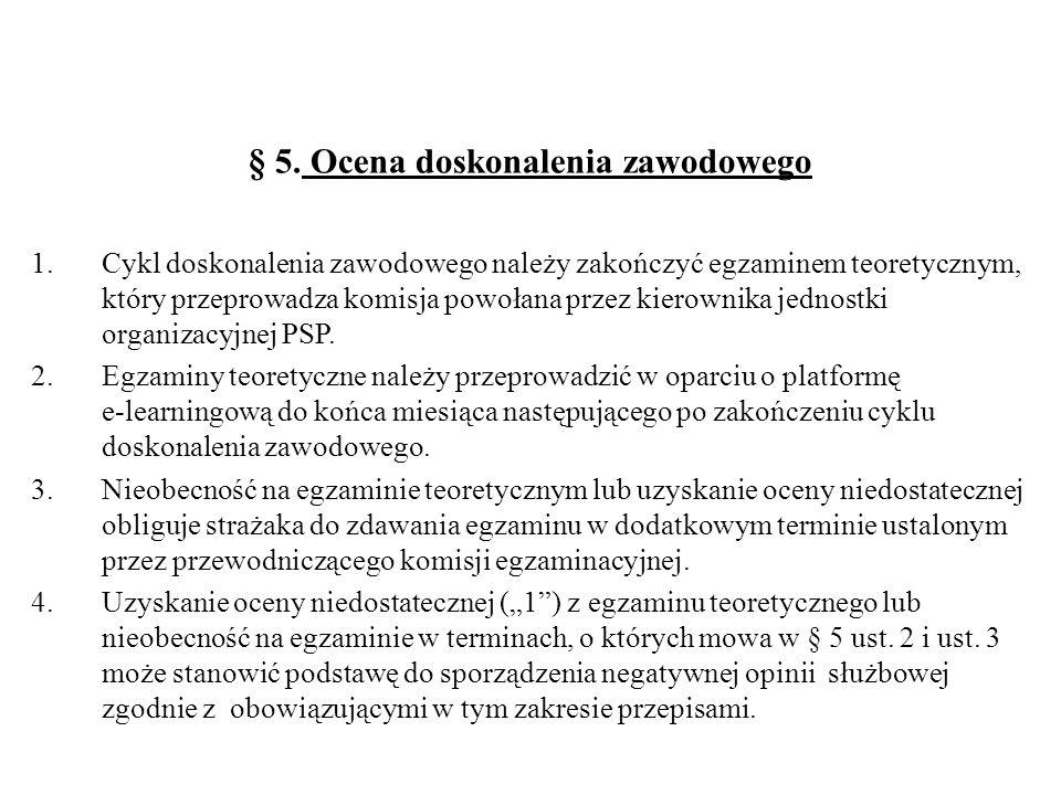 § 5. Ocena doskonalenia zawodowego 1.Cykl doskonalenia zawodowego należy zakończyć egzaminem teoretycznym, który przeprowadza komisja powołana przez k