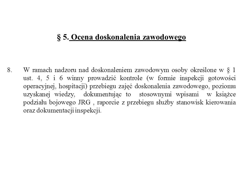 § 5. Ocena doskonalenia zawodowego 8.W ramach nadzoru nad doskonaleniem zawodowym osoby określone w § 1 ust. 4, 5 i 6 winny prowadzić kontrole (w form