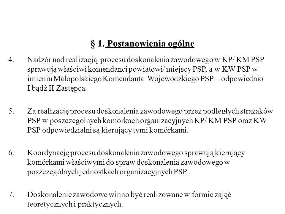 § 1. Postanowienia ogólne 4.Nadzór nad realizacją procesu doskonalenia zawodowego w KP/ KM PSP sprawują właściwi komendanci powiatowi/ miejscy PSP, a