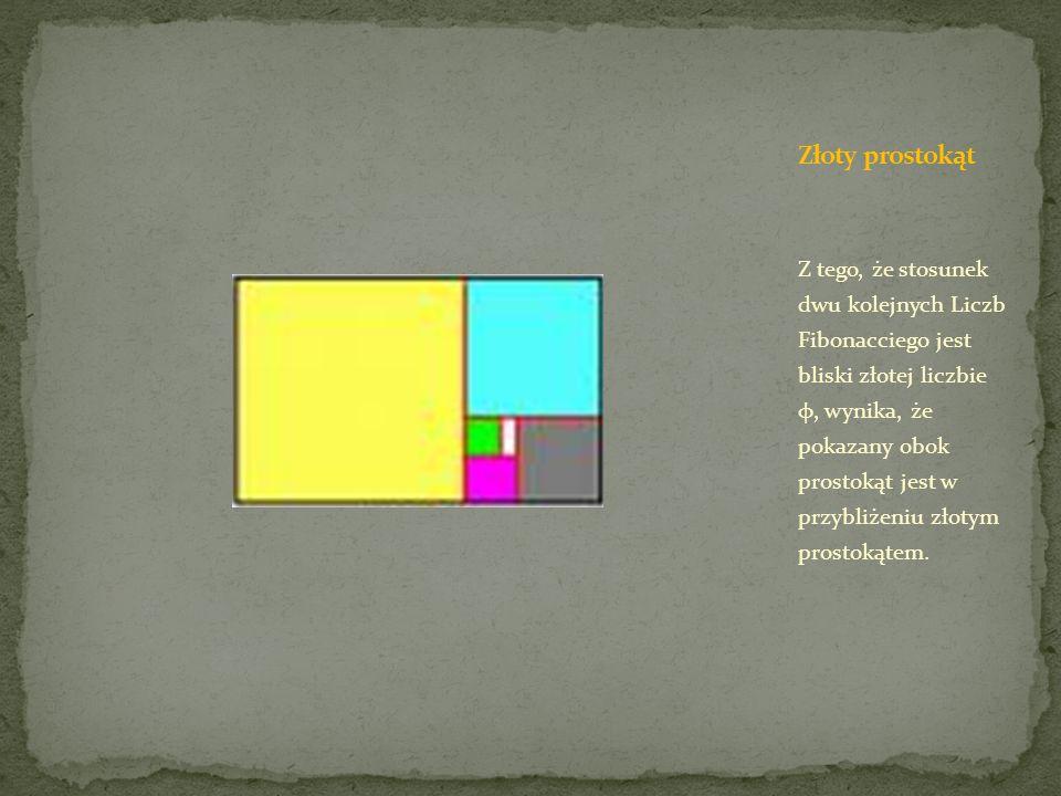 Z tego, że stosunek dwu kolejnych Liczb Fibonacciego jest bliski złotej liczbie φ, wynika, że pokazany obok prostokąt jest w przybliżeniu złotym prost