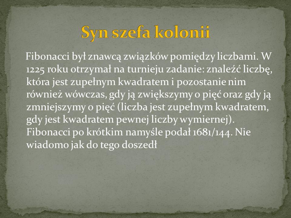 Fibonacci był znawcą związków pomiędzy liczbami. W 1225 roku otrzymał na turnieju zadanie: znaleźć liczbę, która jest zupełnym kwadratem i pozostanie