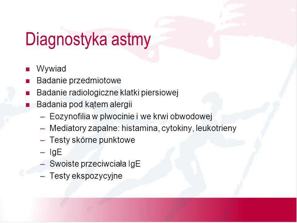 Diagnostyka astmy Wywiad Badanie przedmiotowe Badanie radiologiczne klatki piersiowej Badania pod kątem alergii –Eozynofilia w plwocinie i we krwi obw