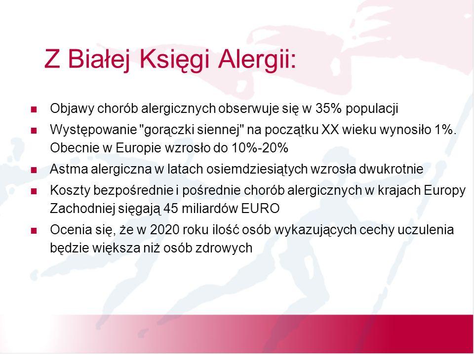 Z Białej Księgi Alergii: Objawy chorób alergicznych obserwuje się w 35% populacji Występowanie