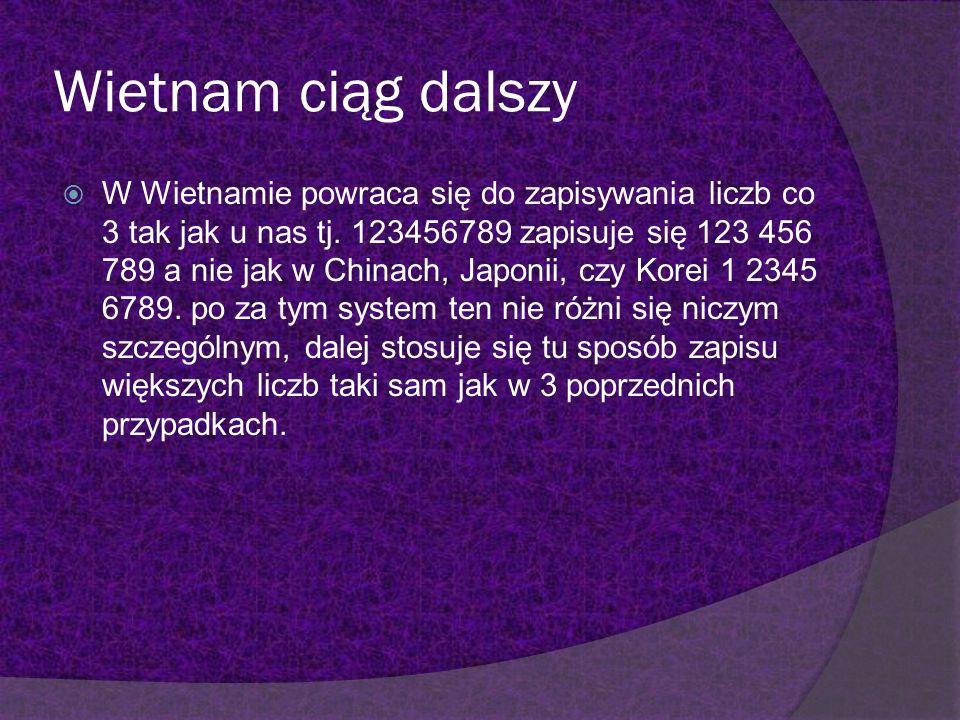 Wietnam ciąg dalszy W Wietnamie powraca się do zapisywania liczb co 3 tak jak u nas tj. 123456789 zapisuje się 123 456 789 a nie jak w Chinach, Japoni