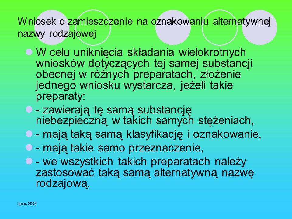 lipiec 2005 Wniosek o zamieszczenie na oznakowaniu alternatywnej nazwy rodzajowej W celu uniknięcia składania wielokrotnych wniosków dotyczących tej s