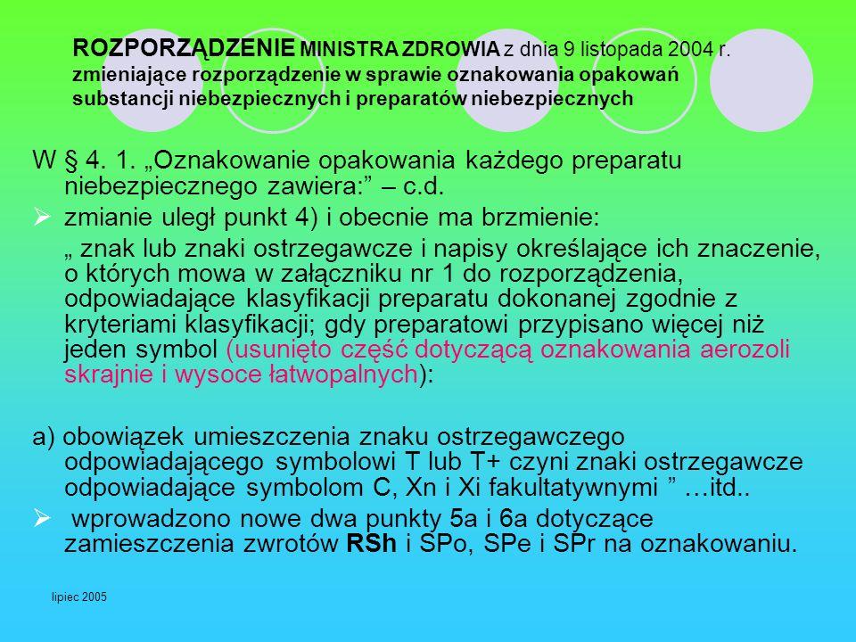 lipiec 2005 ROZPORZĄDZENIE MINISTRA ZDROWIA z dnia 9 listopada 2004 r. zmieniające rozporządzenie w sprawie oznakowania opakowań substancji niebezpiec