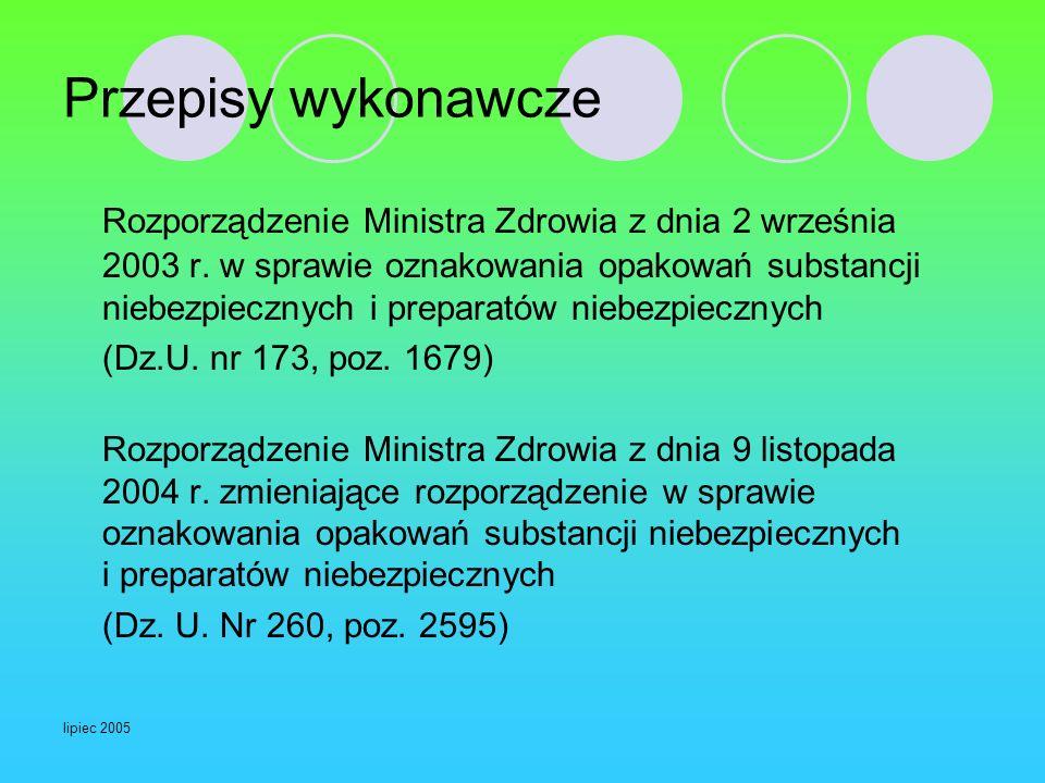 lipiec 2005 Przepisy wykonawcze Rozporządzenie Ministra Zdrowia z dnia 2 września 2003 r. w sprawie oznakowania opakowań substancji niebezpiecznych i