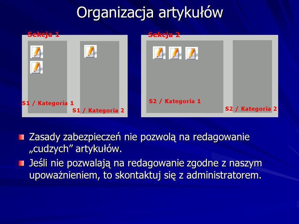 Organizacja artykułów Zasady zabezpieczeń nie pozwolą na redagowanie cudzych artykułów.