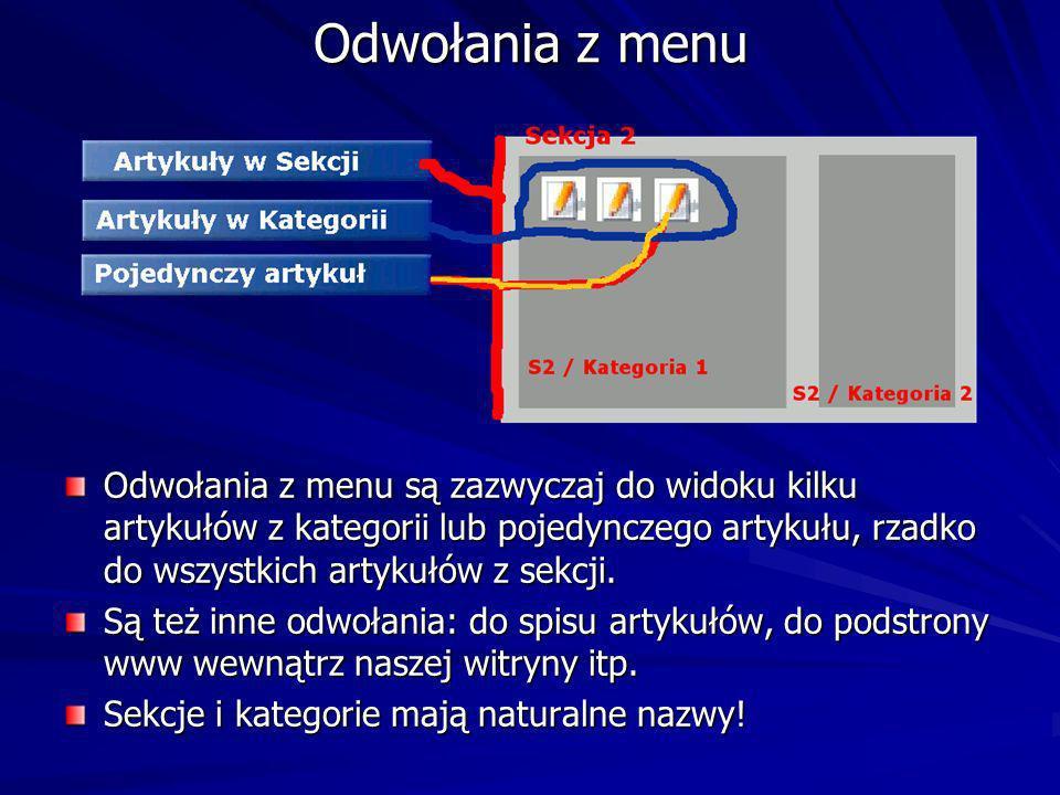 Odwołania z menu Odwołania z menu są zazwyczaj do widoku kilku artykułów z kategorii lub pojedynczego artykułu, rzadko do wszystkich artykułów z sekcji.