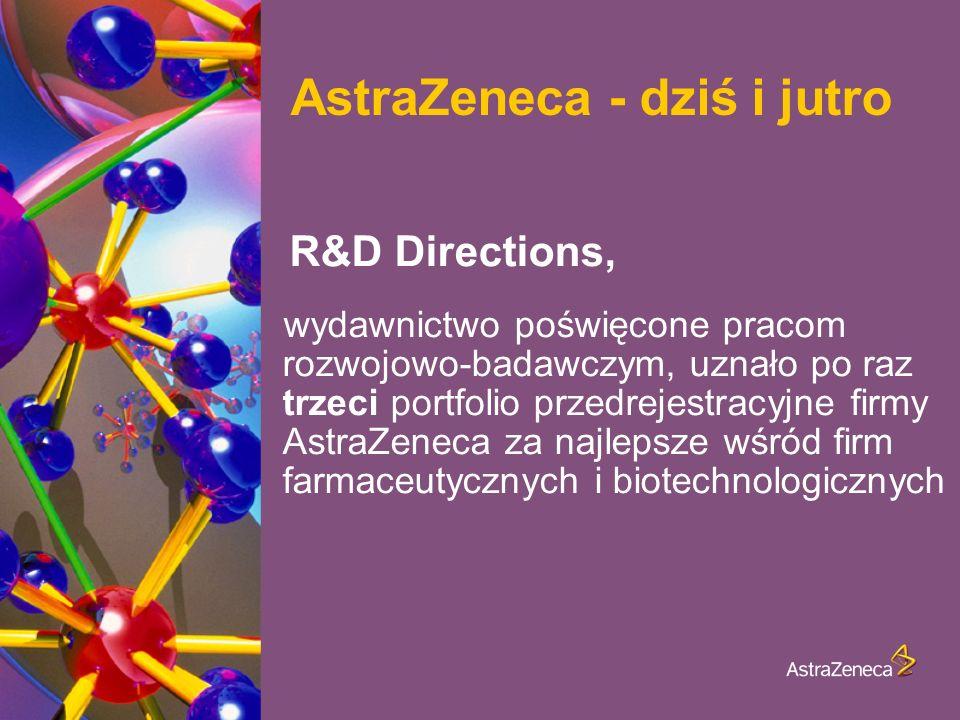 AstraZeneca - dziś i jutro R&D Directions, wydawnictwo poświęcone pracom rozwojowo-badawczym, uznało po raz trzeci portfolio przedrejestracyjne firmy AstraZeneca za najlepsze wśród firm farmaceutycznych i biotechnologicznych
