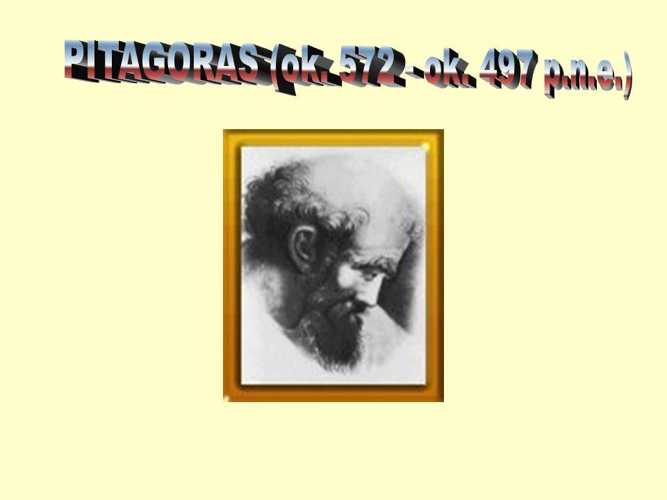 grecki matematyk i filozof półlegendarny założyciel słynnej szkoły pitagorskiej twórca kierunku filozoficznego (pitagoreizmu) inicjator nurtu o orientacji religijnej w starożytnej filozofii greckiej