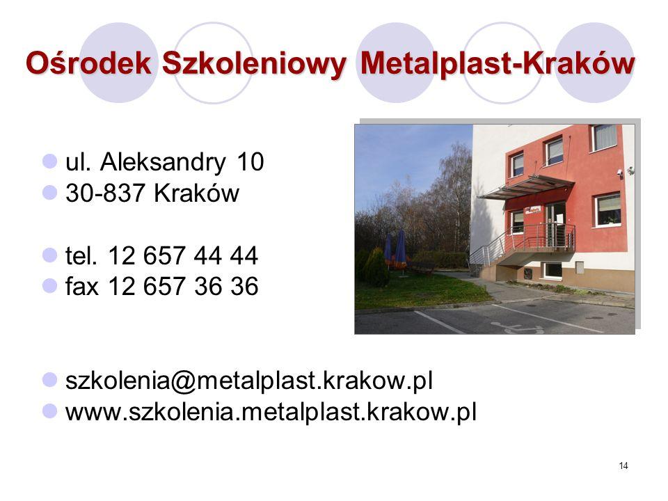 14 Ośrodek Szkoleniowy Metalplast-Kraków ul. Aleksandry 10 30-837 Kraków tel.
