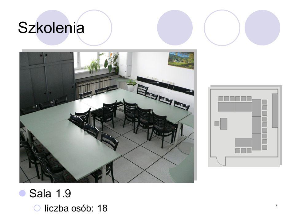 7 Szkolenia Sala 1.9 liczba osób: 18