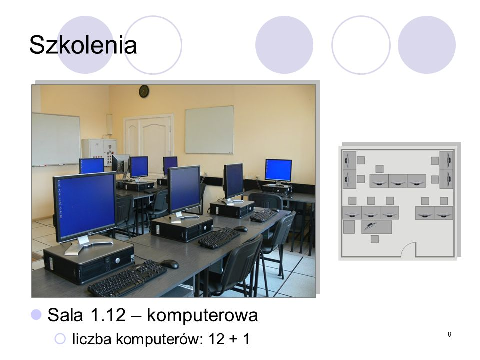 8 Szkolenia Sala 1.12 – komputerowa liczba komputerów: 12 + 1