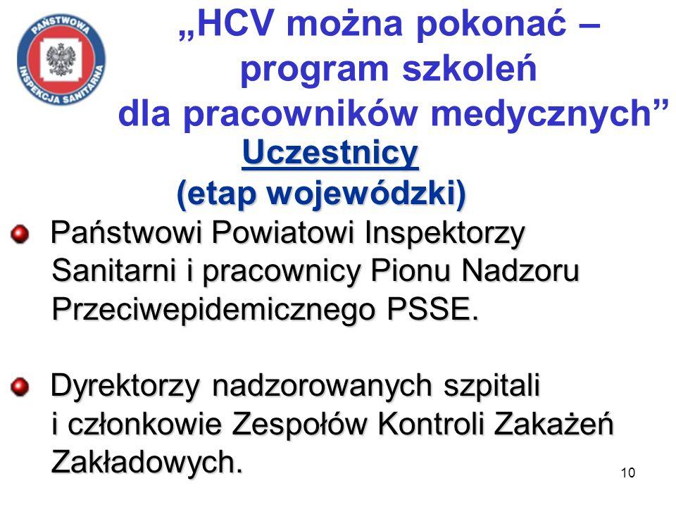 10 HCV można pokonać – program szkoleń dla pracowników medycznych Uczestnicy Uczestnicy (etap wojewódzki) (etap wojewódzki) Państwowi Powiatowi Inspektorzy Państwowi Powiatowi Inspektorzy Sanitarni i pracownicy Pionu Nadzoru Sanitarni i pracownicy Pionu Nadzoru Przeciwepidemicznego PSSE.