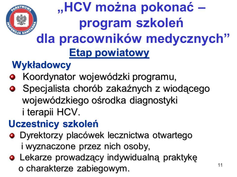 11 HCV można pokonać – program szkoleń dla pracowników medycznych Etap powiatowy Wykładowcy Wykładowcy Koordynator wojewódzki programu, Koordynator wojewódzki programu, Specjalista chorób zakaźnych z wiodącego Specjalista chorób zakaźnych z wiodącego wojewódzkiego ośrodka diagnostyki wojewódzkiego ośrodka diagnostyki i terapii HCV.