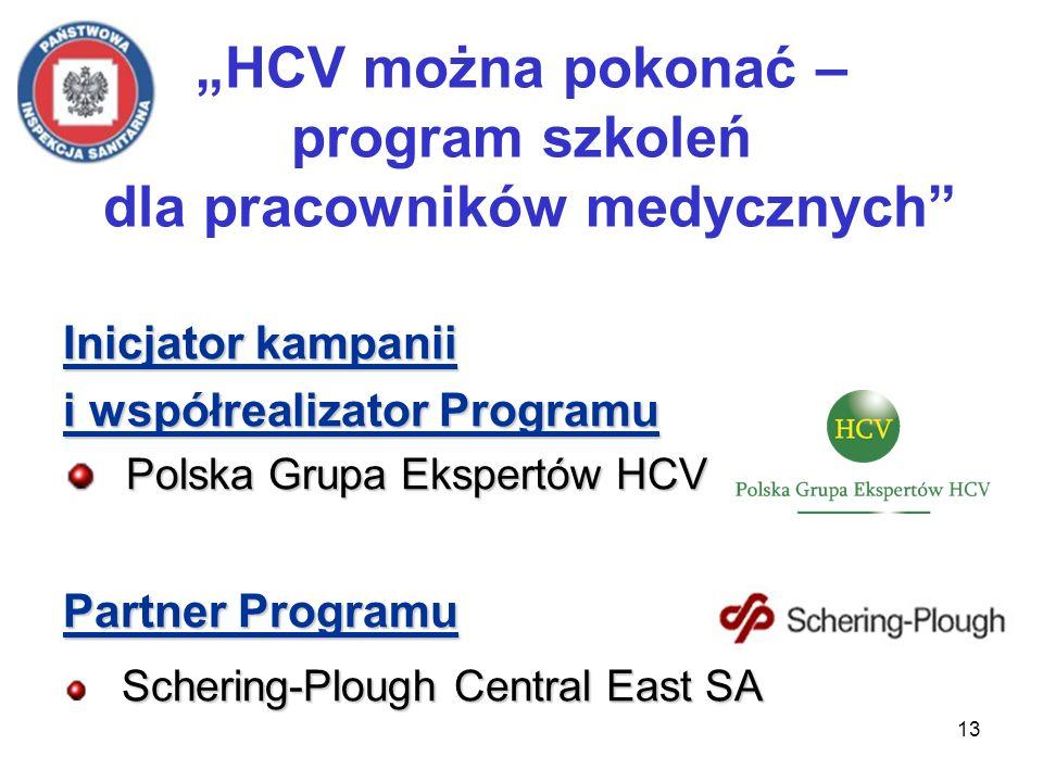 13 HCV można pokonać – program szkoleń dla pracowników medycznych Inicjator kampanii i współrealizator Programu Polska Grupa Ekspertów HCV Polska Grupa Ekspertów HCV Partner Programu Schering-Plough Central East SA