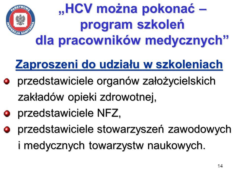 14 HCV można pokonać – program szkoleń dla pracowników medycznych Zaproszeni do udziału w szkoleniach Zaproszeni do udziału w szkoleniach przedstawici