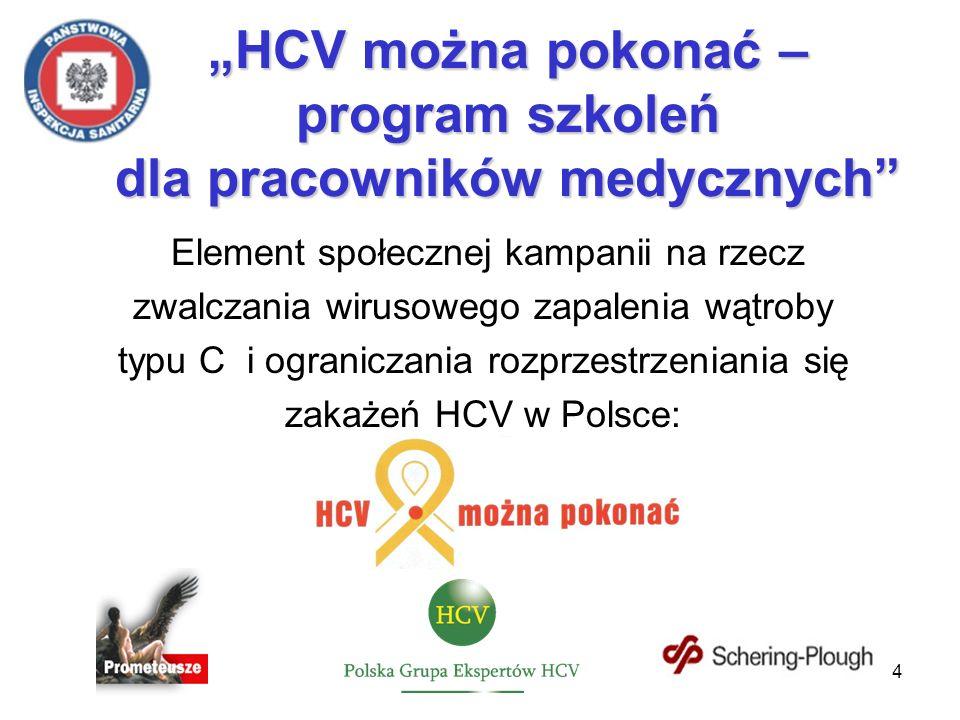 4 Element społecznej kampanii na rzecz zwalczania wirusowego zapalenia wątroby typu C i ograniczania rozprzestrzeniania się zakażeń HCV w Polsce: HCV można pokonać – program szkoleń dla pracowników medycznych