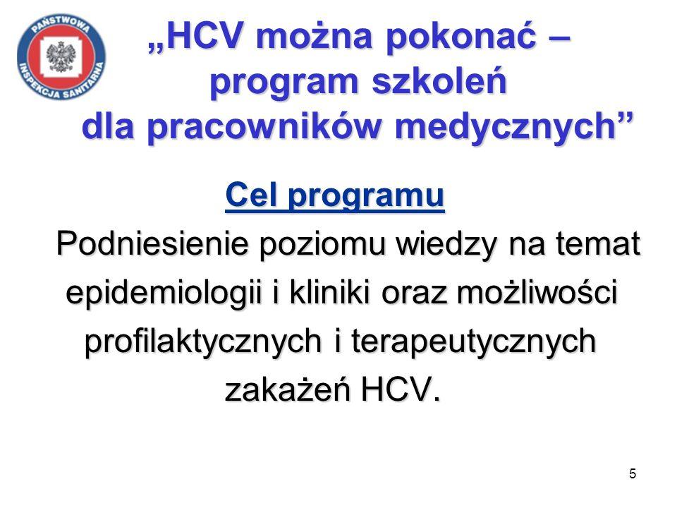 5 Cel programu Podniesienie poziomu wiedzy na temat epidemiologii i kliniki oraz możliwości epidemiologii i kliniki oraz możliwości profilaktycznych i terapeutycznych profilaktycznych i terapeutycznych zakażeń HCV.