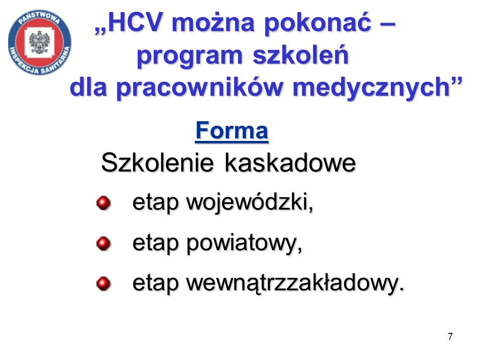 7 Forma Szkolenie kaskadowe Szkolenie kaskadowe etap wojewódzki, etap wojewódzki, etap powiatowy, etap powiatowy, etap wewnątrzzakładowy. etap wewnątr