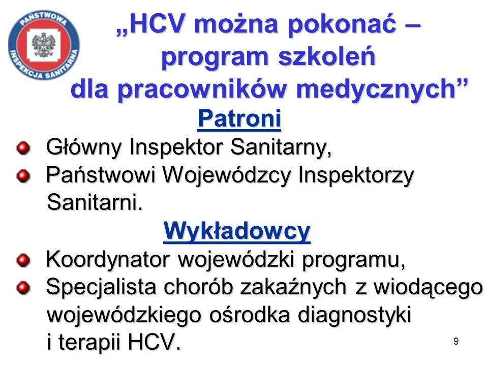 9 HCV można pokonać – program szkoleń dla pracowników medycznych HCV można pokonać – program szkoleń dla pracowników medycznych Patroni Patroni Główny Inspektor Sanitarny, Główny Inspektor Sanitarny, Państwowi Wojewódzcy Inspektorzy Państwowi Wojewódzcy Inspektorzy Sanitarni.