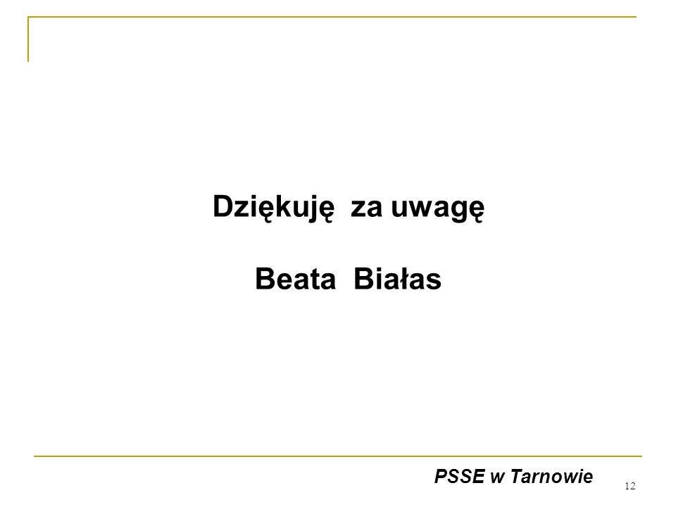 12 Dziękuję za uwagę Beata Białas PSSE w Tarnowie