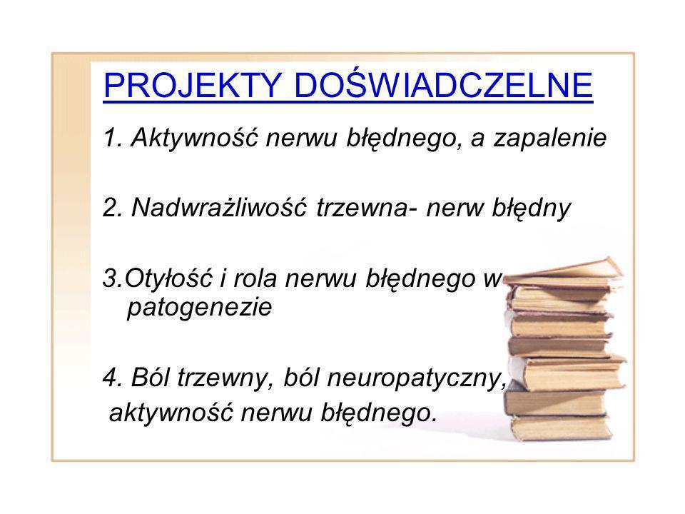 PROJEKTY DOŚWIADCZELNE 1. Aktywność nerwu błędnego, a zapalenie 2. Nadwrażliwość trzewna- nerw błędny 3.Otyłość i rola nerwu błędnego w patogenezie 4.