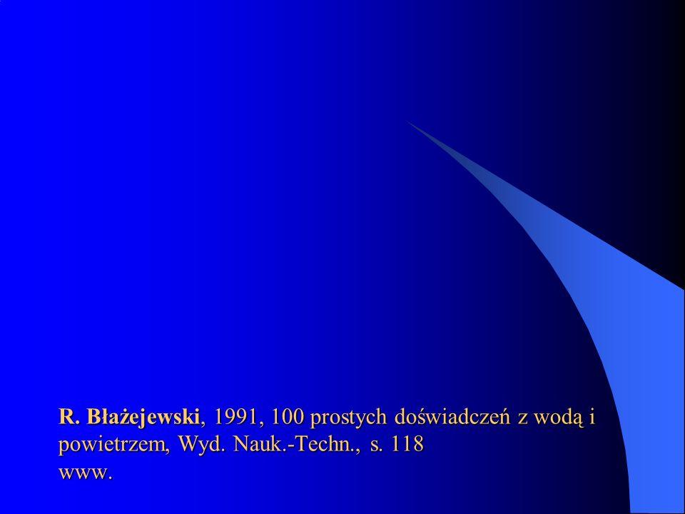 R. Błażejewski, 1991, 100 prostych doświadczeń z wodą i powietrzem, Wyd. Nauk.-Techn., s. 118 www.