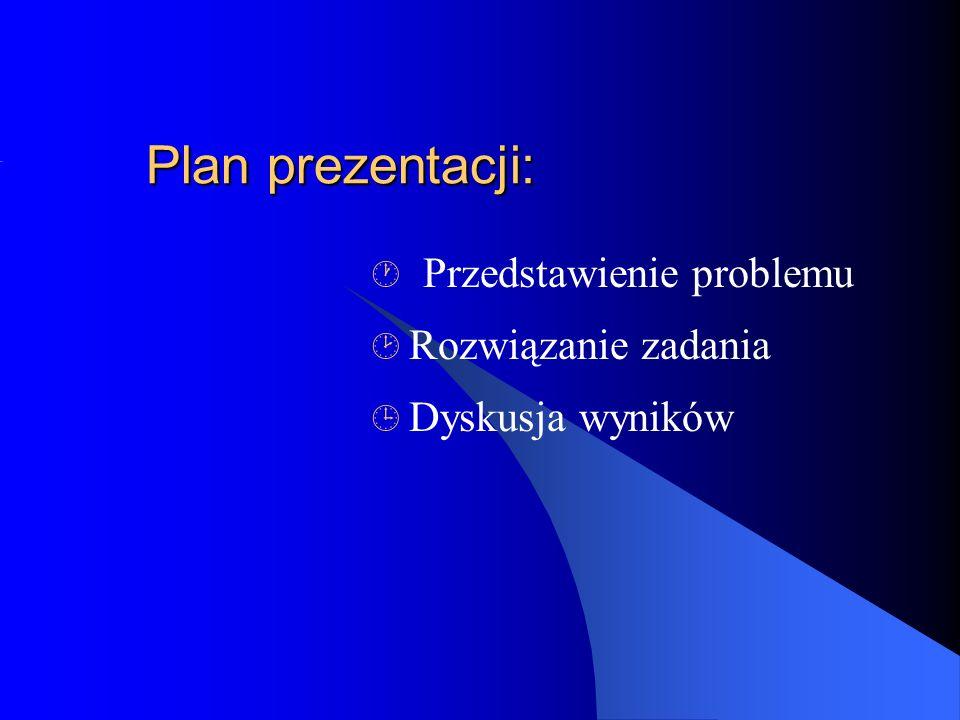 Plan prezentacji: Przedstawienie problemu Rozwiązanie zadania Dyskusja wyników