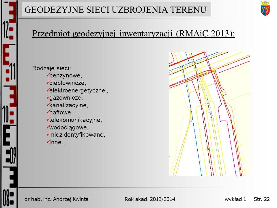 GEODEZJA INŻYNIERYJNA Rok akad. 2013/2014dr hab. inż. Andrzej Kwinta wykład 1 Str. 22 Przedmiot geodezyjnej inwentaryzacji (RMAiC 2013): GEODEZYJNE SI