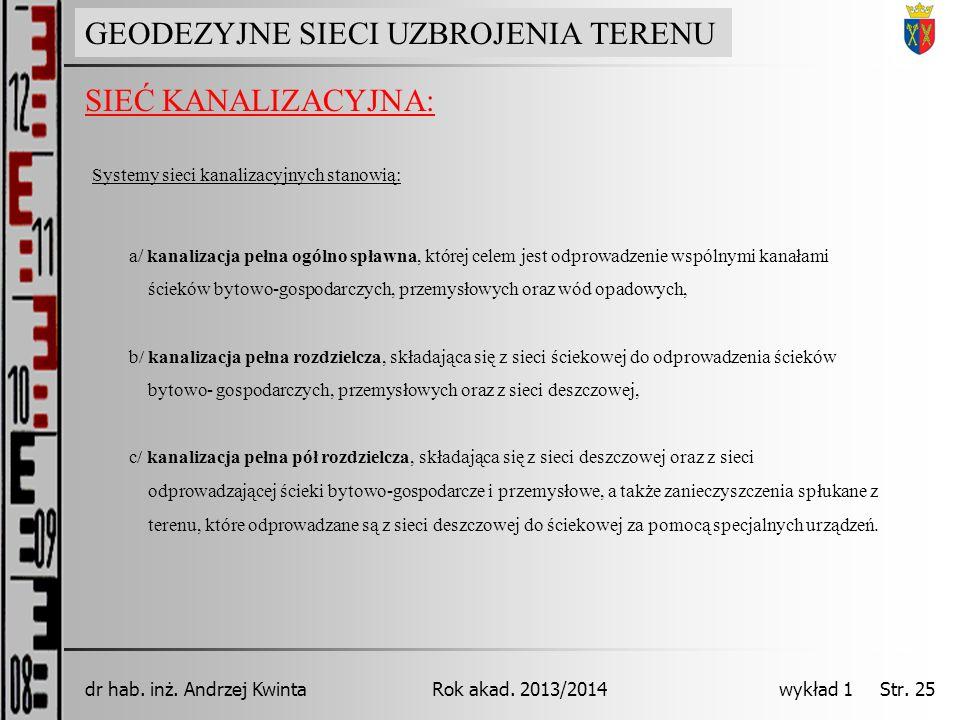GEODEZJA INŻYNIERYJNA Rok akad. 2013/2014dr hab. inż. Andrzej Kwinta wykład 1 Str. 25 SIEĆ KANALIZACYJNA: GEODEZYJNE SIECI UZBROJENIA TERENU Systemy s