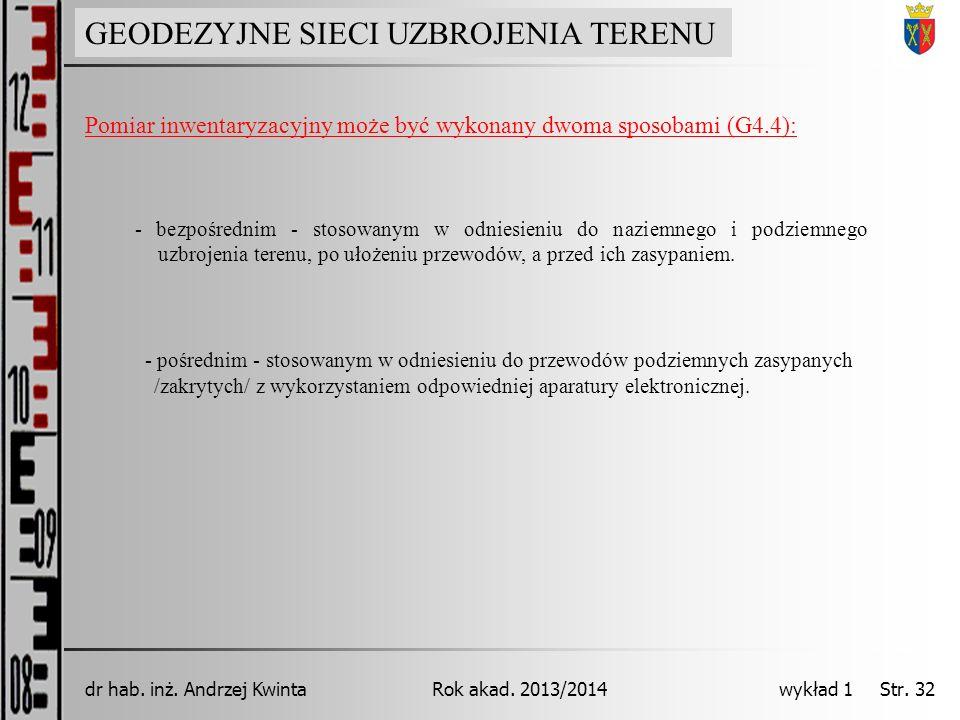GEODEZJA INŻYNIERYJNA Rok akad. 2013/2014dr hab. inż. Andrzej Kwinta wykład 1 Str. 32 GEODEZYJNE SIECI UZBROJENIA TERENU Pomiar inwentaryzacyjny może
