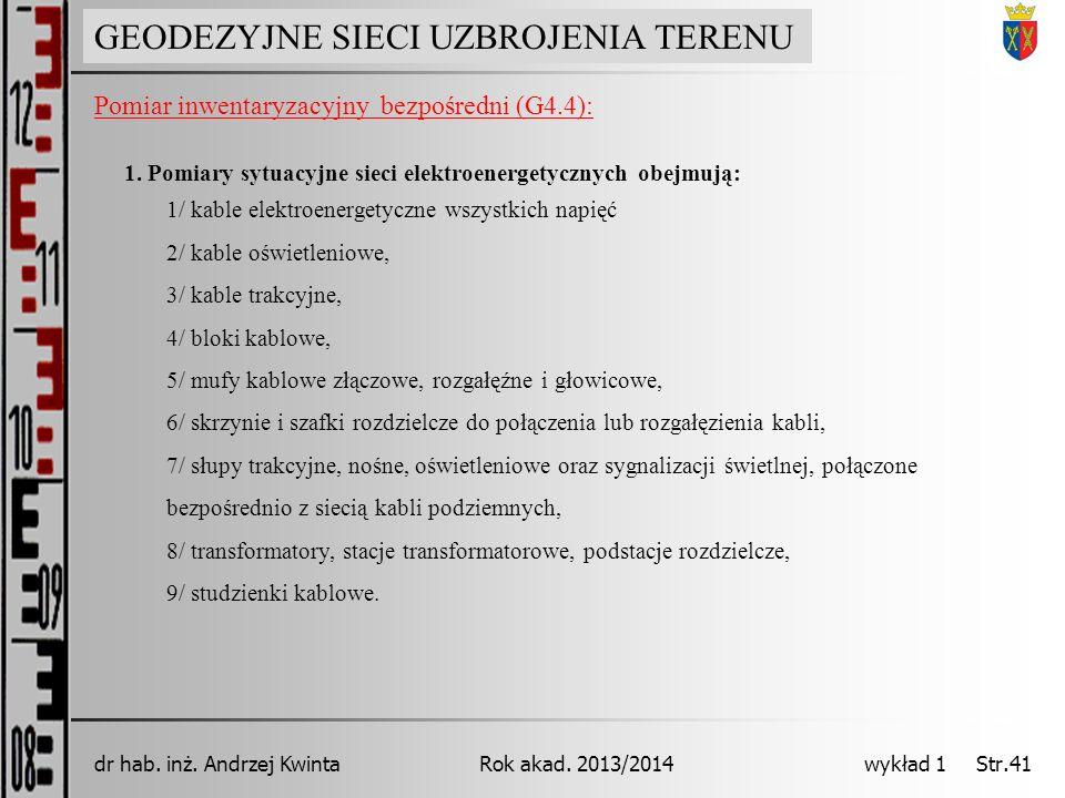 GEODEZJA INŻYNIERYJNA Rok akad. 2013/2014dr hab. inż. Andrzej Kwinta wykład 1 Str.41 GEODEZYJNE SIECI UZBROJENIA TERENU Pomiar inwentaryzacyjny bezpoś