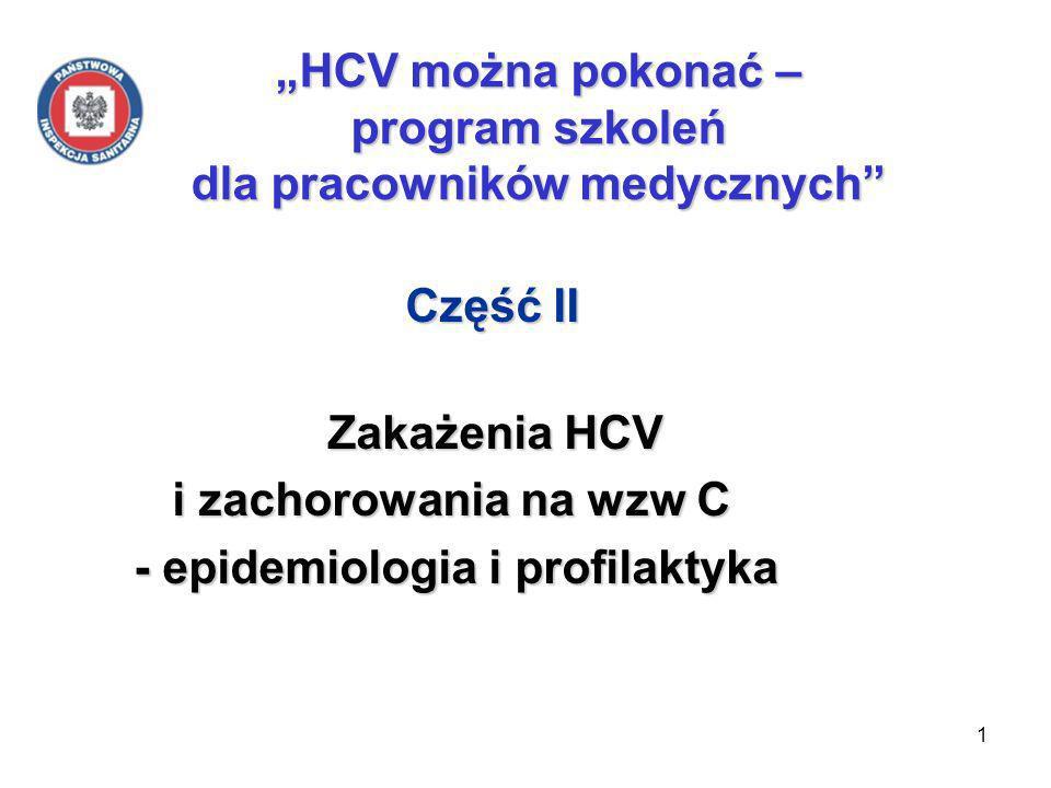 1 HCV można pokonać – program szkoleń dla pracowników medycznych Część II Część II Zakażenia HCV Zakażenia HCV i zachorowania na wzw C i zachorowania na wzw C - epidemiologia i profilaktyka - epidemiologia i profilaktyka