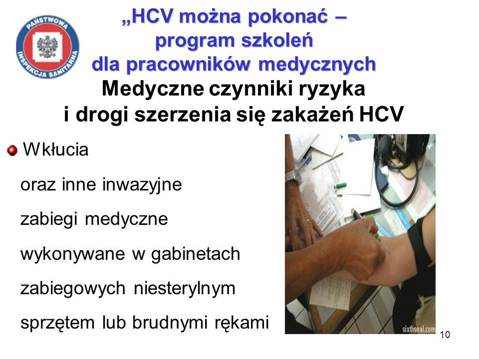 10 HCV można pokonać – program szkoleń dla pracowników medycznych HCV można pokonać – program szkoleń dla pracowników medycznych Medyczne czynniki ryzyka i drogi szerzenia się zakażeń HCV Wkłucia oraz inne inwazyjne zabiegi medyczne wykonywane w gabinetach zabiegowych niesterylnym sprzętem lub brudnymi rękami