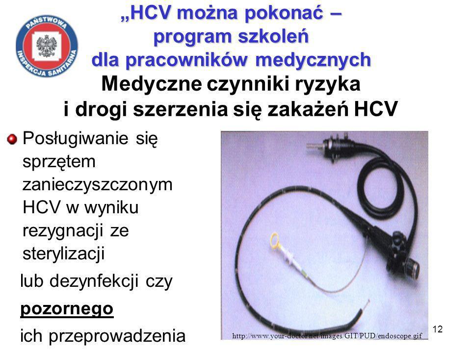 12 HCV można pokonać – program szkoleń dla pracowników medycznych HCV można pokonać – program szkoleń dla pracowników medycznych Medyczne czynniki ryzyka i drogi szerzenia się zakażeń HCV Posługiwanie się sprzętem zanieczyszczonym HCV w wyniku rezygnacji ze sterylizacji lub dezynfekcji czy pozornego ich przeprowadzenia http://www.your-doctor.net/images/GIT/PUD/endoscope.gif
