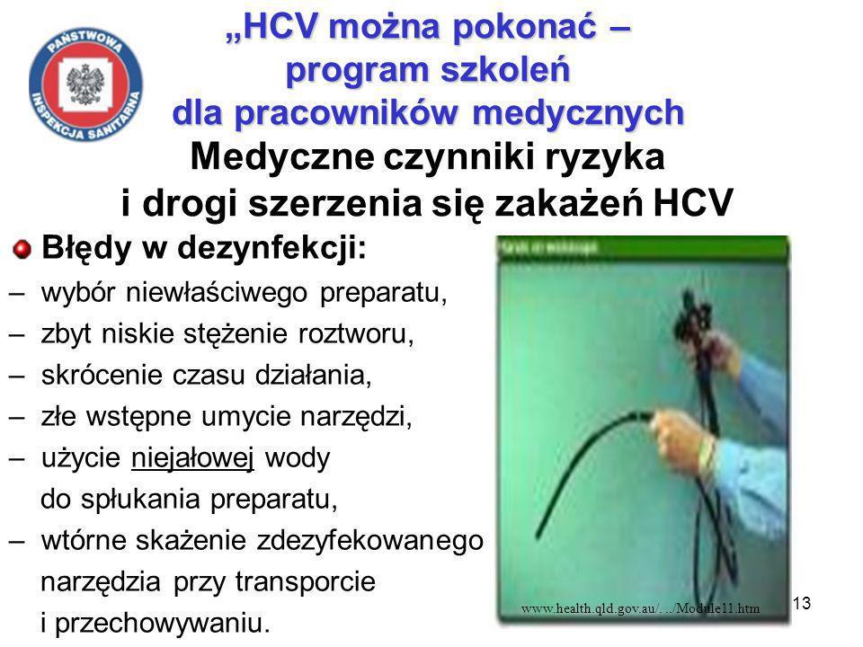 13 HCV można pokonać – program szkoleń dla pracowników medycznych HCV można pokonać – program szkoleń dla pracowników medycznych Medyczne czynniki ryzyka i drogi szerzenia się zakażeń HCV Błędy w dezynfekcji: –wybór niewłaściwego preparatu, –zbyt niskie stężenie roztworu, –skrócenie czasu działania, –złe wstępne umycie narzędzi, –użycie niejałowej wody do spłukania preparatu, –wtórne skażenie zdezyfekowanego narzędzia przy transporcie i przechowywaniu.