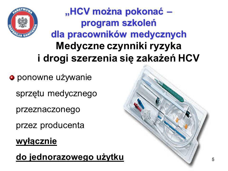 15 HCV można pokonać – program szkoleń dla pracowników medycznych HCV można pokonać – program szkoleń dla pracowników medycznych Medyczne czynniki ryzyka i drogi szerzenia się zakażeń HCV ponowne używanie sprzętu medycznego przeznaczonego przez producenta wyłącznie do jednorazowego użytku