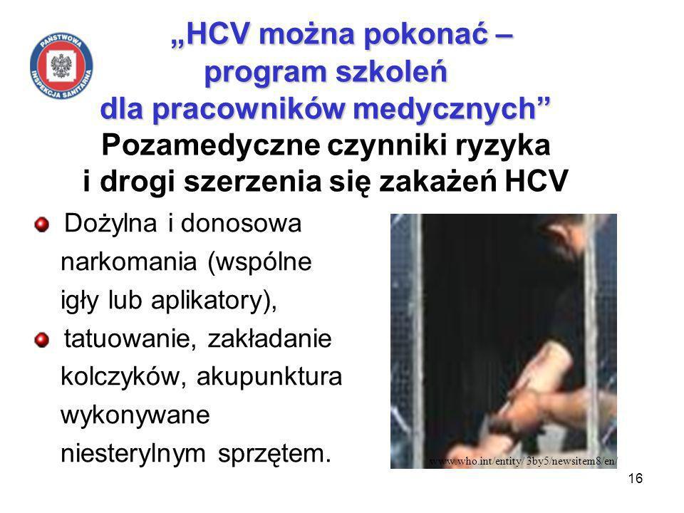 16 HCV można pokonać – program szkoleń dla pracowników medycznych HCV można pokonać – program szkoleń dla pracowników medycznych Pozamedyczne czynniki ryzyka i drogi szerzenia się zakażeń HCV Dożylna i donosowa narkomania (wspólne igły lub aplikatory), tatuowanie, zakładanie kolczyków, akupunktura wykonywane niesterylnym sprzętem.
