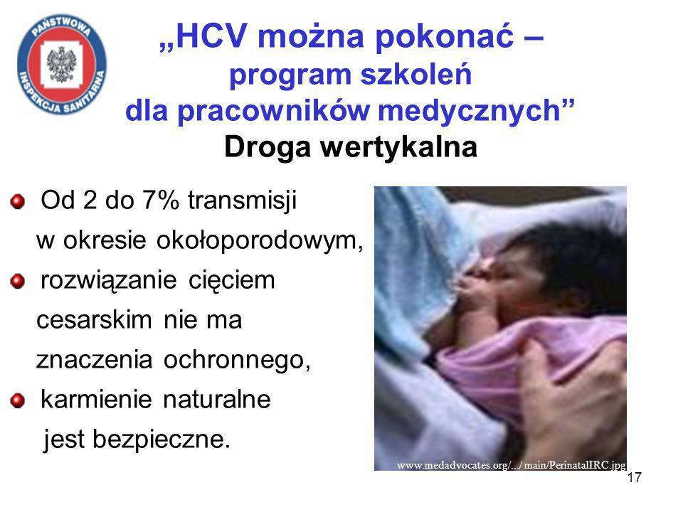 17 HCV można pokonać – program szkoleń dla pracowników medycznych Droga wertykalna Od 2 do 7% transmisji w okresie okołoporodowym, rozwiązanie cięciem cesarskim nie ma znaczenia ochronnego, karmienie naturalne jest bezpieczne.
