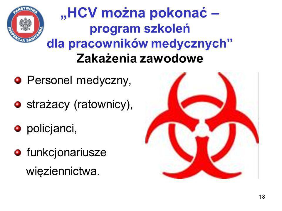 18 HCV można pokonać – program szkoleń dla pracowników medycznych Zakażenia zawodowe Personel medyczny, strażacy (ratownicy), policjanci, funkcjonariusze więziennictwa.
