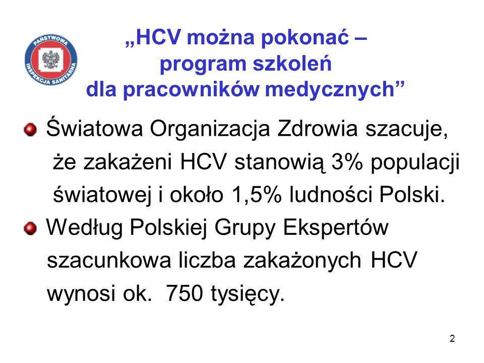 2 HCV można pokonać – program szkoleń dla pracowników medycznych Światowa Organizacja Zdrowia szacuje, że zakażeni HCV stanowią 3% populacji światowej i około 1,5% ludności Polski.